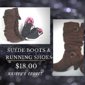 Brown Suede Dress  Boots & Nike Running Shoes